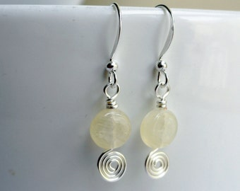 Yellow earrings - small lemon earrings - lemon earrings - lemon zest earrings - earrings under 10 - glass earrings - lemon bead earrings