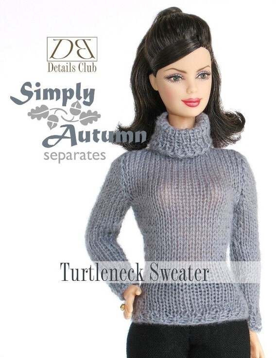 Knitting pattern for 11 1/2 doll Barbie: Turtleneck