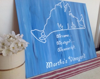 Canvas Quote: Martha's Vineyard, home decor. 11x14 handmade canvas