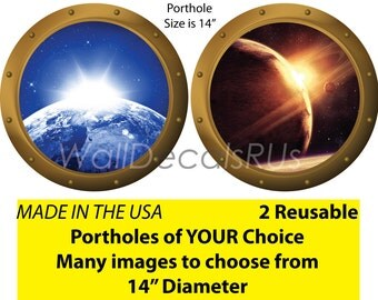 Space Decals, Porthole Window, Outer Space Wall Decals, Outer Space Stickers,Space Stickers, Space Wall Murals,Stars Wall Decor, S5S6