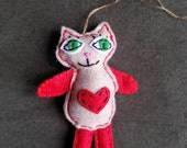Cat Ornament - cat tree ornament - tree ornament