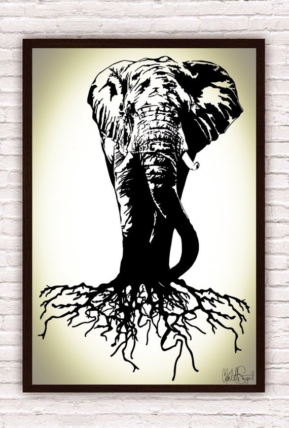Elephant tree trunk poster print wall art home by for Tree trunk wall art