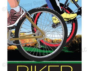 BIKER, 24 x 30 Graphic Art Biking Inspiration Print