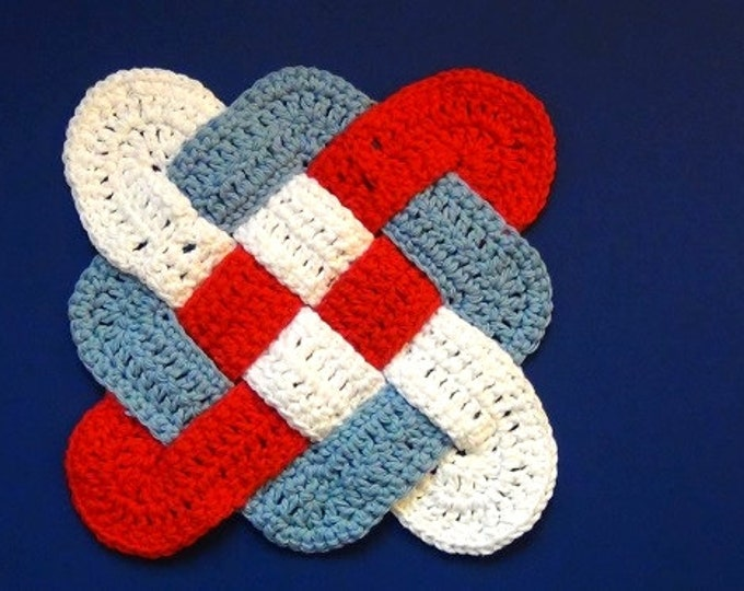 Hot Pad / Trivet - Patriotic Red, White, and Blue - Celtic Knot Design - Handmade Crochet Trivet