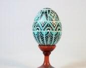 Made to order-Turquoise design Easter egg pysanka, Ukrainian Easter egg, hand painted chicken egg shell