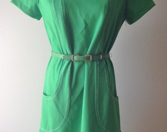 Vintage 1960s / 1970s Lime Green Mod Shift Dress / Short Dress / Belted Dress / Size 12
