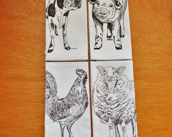 Farm Animal Cloth Napkins - Screen Printed Recycled Cotton Napkins - Dark Brown Sheep Rooster Cow Pig - Washable and Reusable