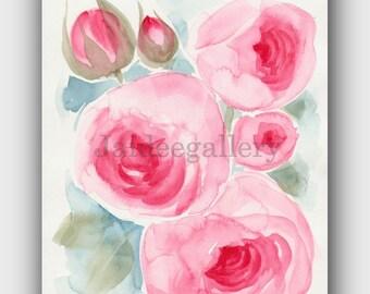 Watercolor painting original, Original watercolor art,Floral rose painting, 6x8 in Art flower painting on paper.