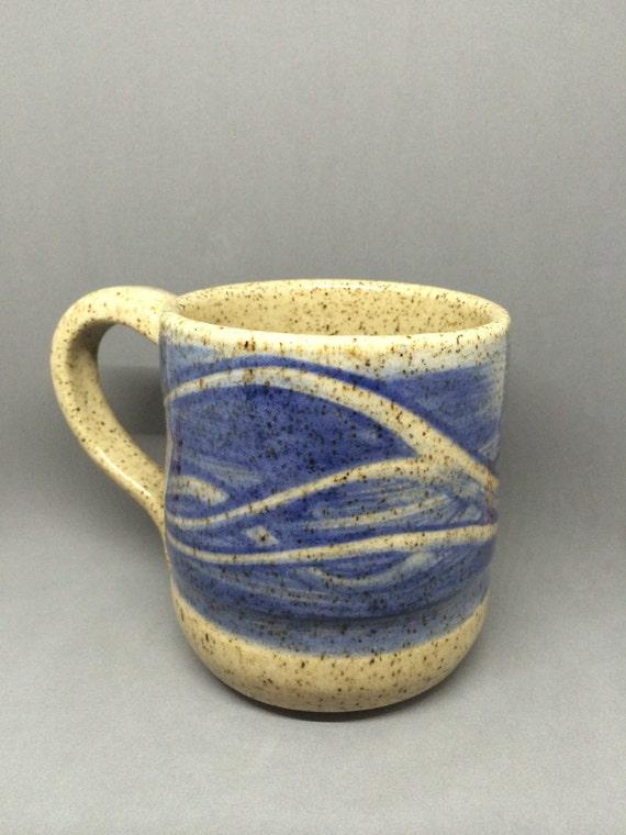Waves Of Blue Coffee Cup Large Coffee Mug Tea By
