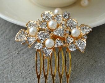 Gold Pearls Bridal Art Deco Hair Comb, Downton Abbey, Great Gatsby, Bridal wedding Hairpiece, Bridal Hair Accessory, Crystal Headpiece