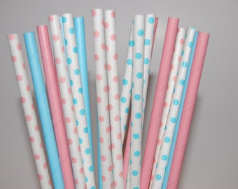 Baby Shower - Is It A Boy or Is It A Girl Paper Straw Assortment - 20/Pack