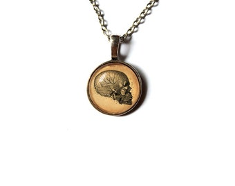 Human head charm Anatomy pendant Macabre jewelry Antique style NW138