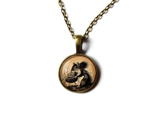 Cute squirrel pendant Cute jewelry Animal necklace NW3