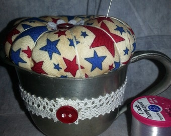 SALE!!  Pincushion in a pewter cup-vintage-retro-handmade-unique
