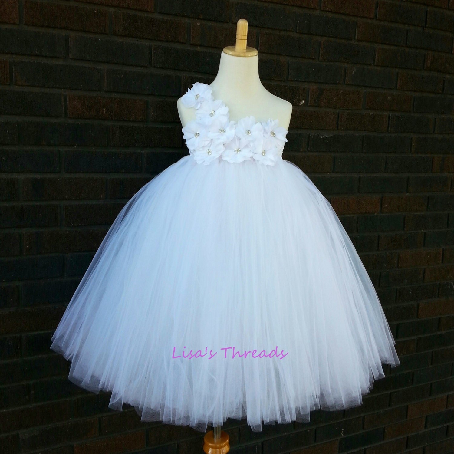 Classic White Flower Girl Dress by LisasThreads on Etsy