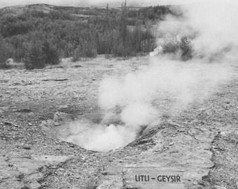 Litli Geysir Photo Print: Iceland, Hot Spring, Geyser, Geothermal, Golden Circle, Art, B&W, Hipster, 4x6, 5x7, 8x10, Snapshot, Polaroid, GY1