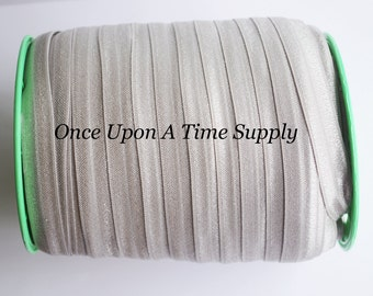 Silver Gray Fold Over Elastic for Baby Headbands -  5 Yards of 5/8 inch FOE - Craft Embellishement - Elastic By The Yard