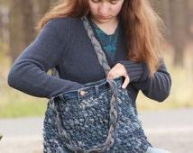 Crocheted Blue Jean Shoulder Bag, denim purse, upcycled blue jeans, blue jean purse, denim shoulder bag