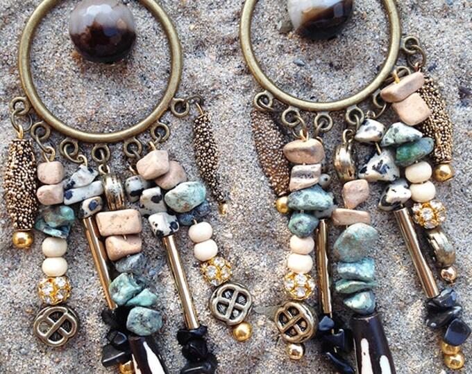 Handmade Tribal Earrings, Boho Earrings, Dangle, Beaded, Bone, Native, Stone, Rhinestone, Western, Sexy, Festival (Tribal Chant Earrings)