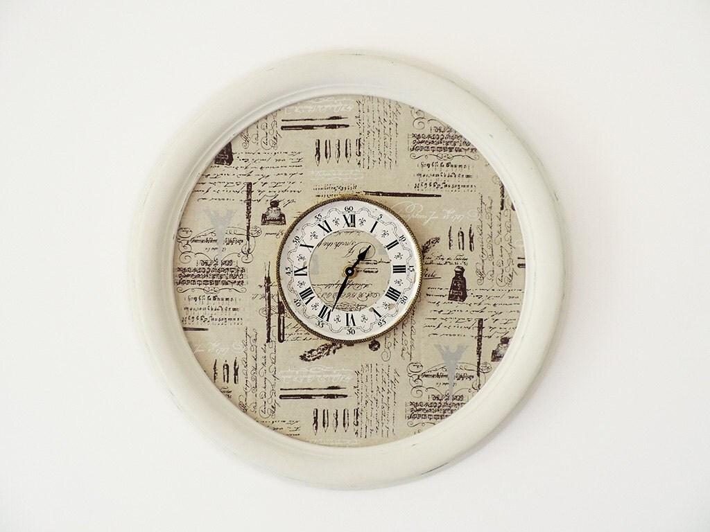 Orologio da parete shabby chic cornice rotonda in legno - Parete shabby chic ...