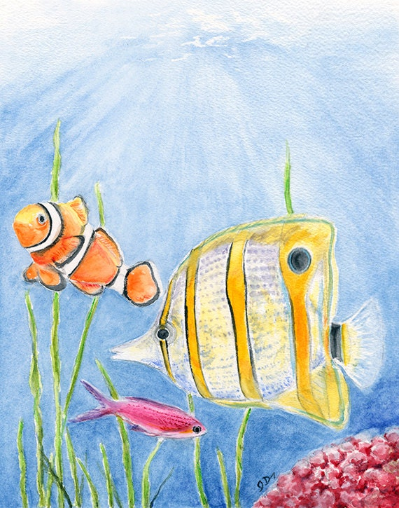 Fish Art Fish Painting Fish Art Print. Fish Watercolor ...