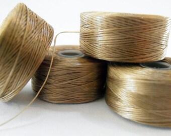 4 Bobbins Size D Nymo Beading Thread Bobbins - SAND - 99 yd each