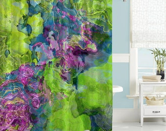 Contemporary Shower Curtain Abstract Art Bathroom Decor Purple Blue And Green