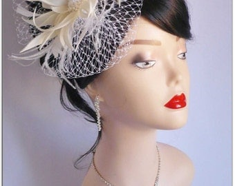 Wedding Hair Accessories-Flower Headpiece, Wedding Hair Flowers, Handmade Fascinator And Birdcage Veil, Vintage Headpiece