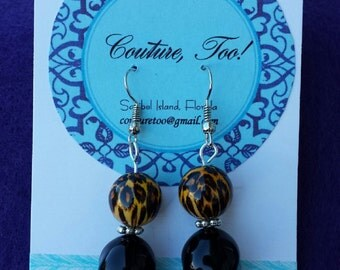 Handmade Cheetah & Black Beaded Earrings