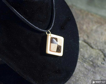 Chequered hardwood gem-cut necklace on suede with lobster clasp - large or small