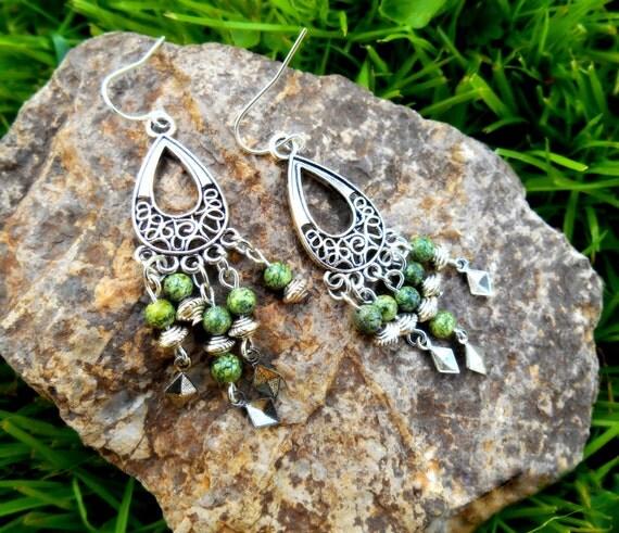 Gypsy Style GREEN Lace Agate Chandelier Earrings / by ...