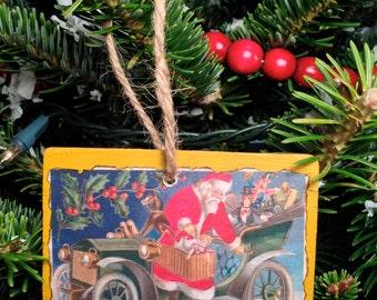 Vintage Christmas Postcard Ornament #015