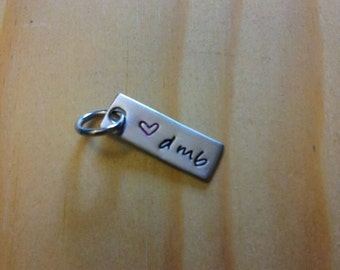 Hand Stamped Charm - heart d m b