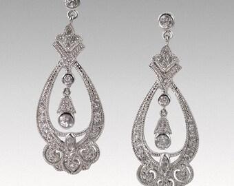 Sterling silver and CZ Victorian-style teardrop dangle earrings