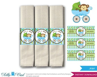 Boy Monkey Napkin Ring Label Printable for Baby Monkey Shower DIY Brown Green Stroller - ONLY digital file - aa26bs9
