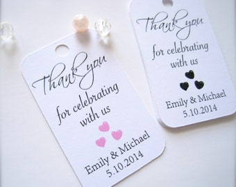 Wedding favor tags, custom gift tags, bridal shower favor tags, baby shower tags, thank you tags, hang tags, party decoration - 30 count
