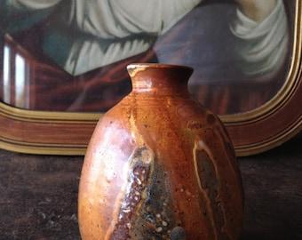 Ceramic vase sake vessel pottery shino glaze