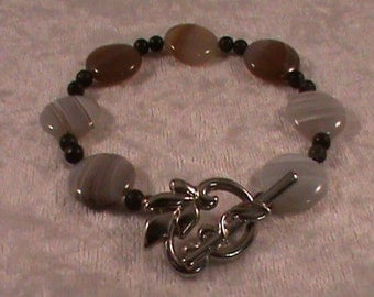 Unique White Onyx Bracelet with Silver Leaf Toggle Clasp