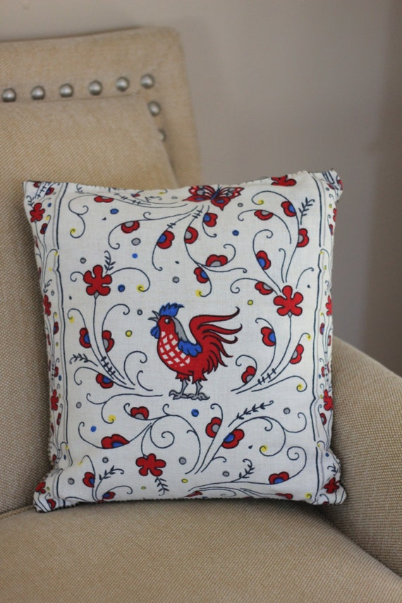 Black Rooster Throw Pillows : Vintage Rooster Throw Pillow 14x14 Black Gingham