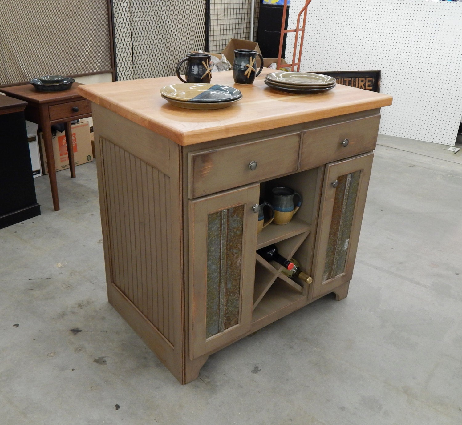 Rustic Handcrafted Kitchen Island with 2 inch Butcher Block