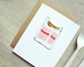 Takeout Bag Thank You Card. Unique, Creative, Funny Thank You Card. Watercolor Illustration Print.