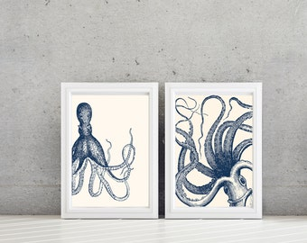 Octopus Art - Octopus Print - Nautical Decor - Nautical Nursery - Kraken Art - Kraken Print - Nautical bathroom - Kraken Decor (NS-642)