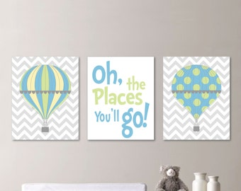 Hot Air Balloon Nursery - Hot Air Balloon Decor - Hot Air Balloon Print - Baby Boy Nursery Art Print - Boy Bedroom Art - Blue Green - NS-538