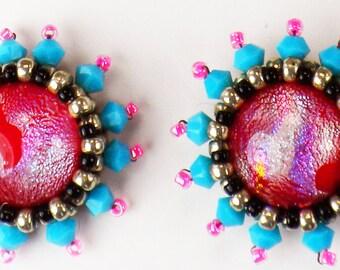 Bead Embroidery Dichroic Glass Swarovski Crystal Post Earrings