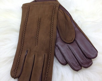 Genuine leather gloves, real leather gloves, brown leather gloves, leather gloves, gift for him, genuine leather pelt, gloves for men.