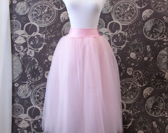 Pink Tulle Skirt -with Dropped Wide Waistband - Adult Tea Length Tutu, Crinoline or Petticoat - Custom Size