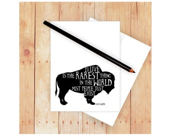 Buffalo Card, Bear Card, Quote Note Card, Thank Notes, Masculine Stationery, Famous Quotes, Blank Note Card, Masculine Card, Black and White