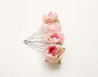 Blush pink flower clips, Bridal blush hair pins, Wedding floral clips, Pink bobby pins, Flower girl hair, Bridesmaids hair, Blush wedding