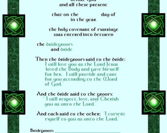 Celtic Wedding Certificate, Celtic Knot Certificate, Marriage Certificate,Marriage Covenant - CelticCovenants 1