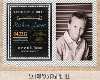 LDS Baptism invitation, graduation, or baby blessing, ANY COLORS, digital, printable.